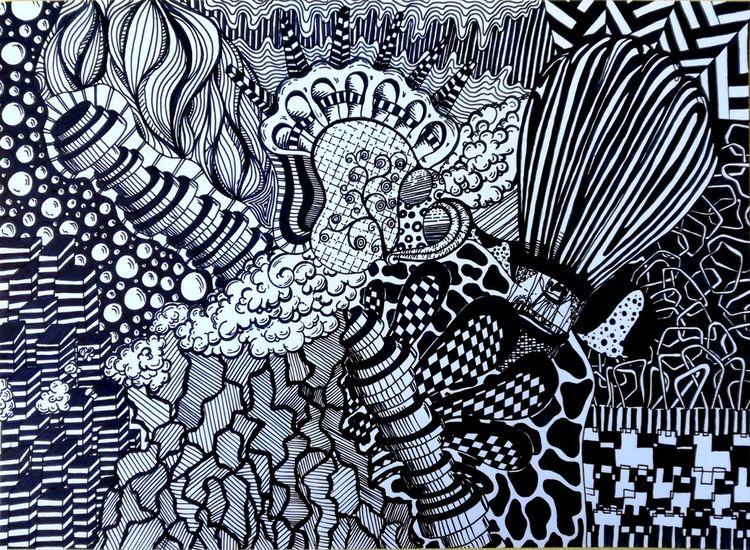 Zeichnung, Schwarz weiß, Streifen, Gekritzel, Malerei, Klima