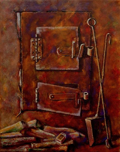 Platz, Cosy, Gemälde, Ölmalerei, Warm, Stove