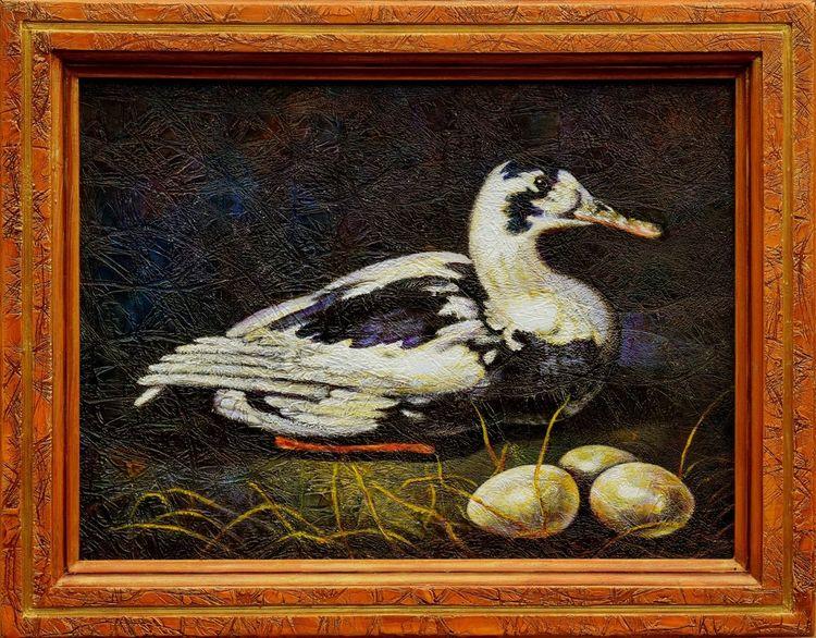 Ölmalerei, Brett, Ente, Mixed media, Textured, Rahmen