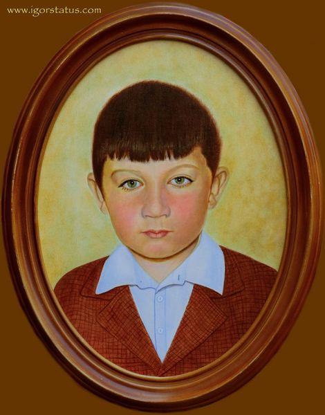 Model, Kind, Gesicht, Kids, Ölmalerei, Mann