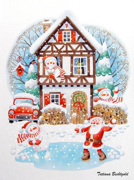 Winterillustration, Weihnachtsmann, Winter postkarten, Illustration, Tanenbaum, Postkarten