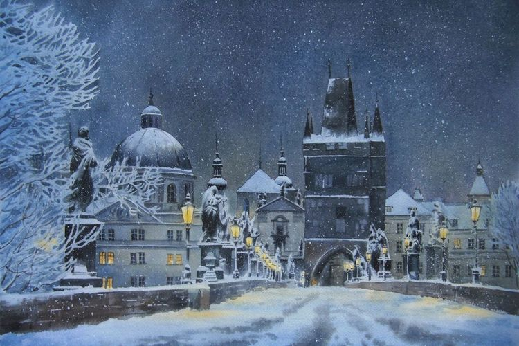 Winter, Schnee, Prag, Nacht, Stadt, Aquarell