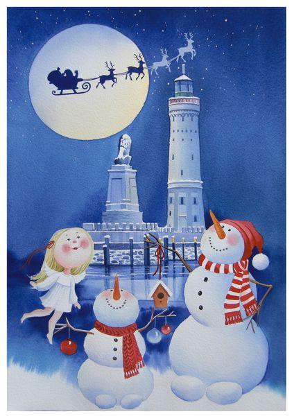 Schnee, Weihnachten, Lindau, Engel, Winter, Aquarell