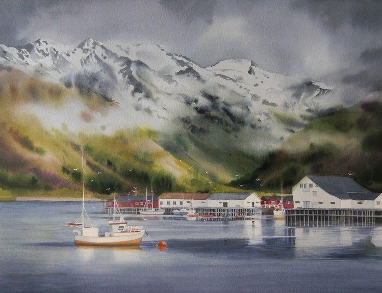 Meer, Schiff, Berge, Aquarell, Norwegen, Landschaft