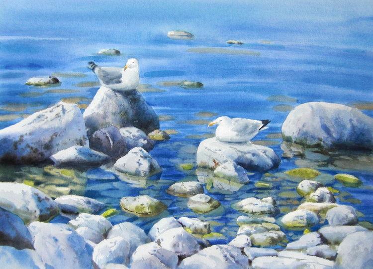See, Meer, Stein, Wasser, Aquarell