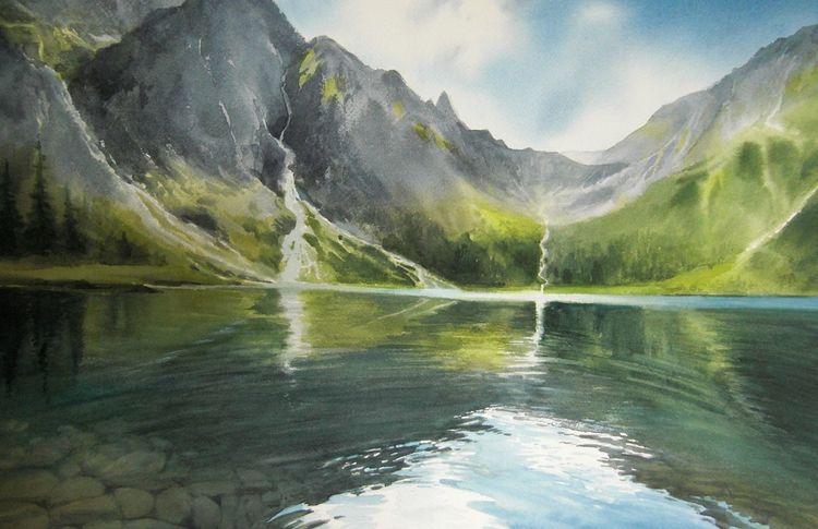 Wasser, Natur, Landschaft, See, Berge, Aquarell