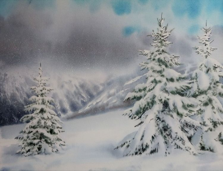 Wald, Schnee, Winter, Aquarell,