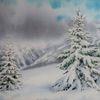 Wald, Schnee, Winter, Aquarell