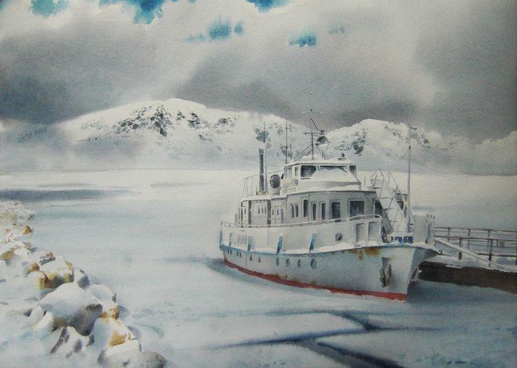 Schnee, Schiff, Landschaft, Berge, Winter, Aquarell