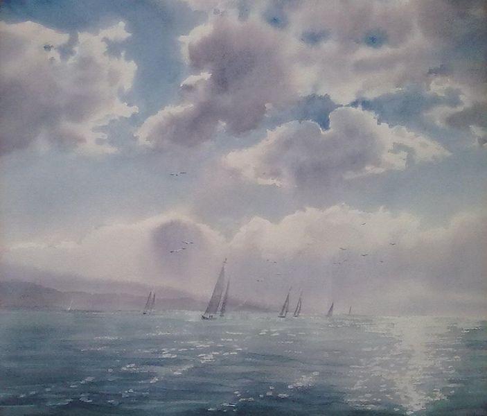 Sonne, Boot, Meer, Wasser, Landschaft, Aquarell