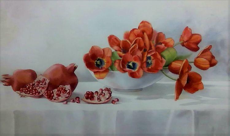 Stillleben, Tulpen, Granatapfel, Aquarell