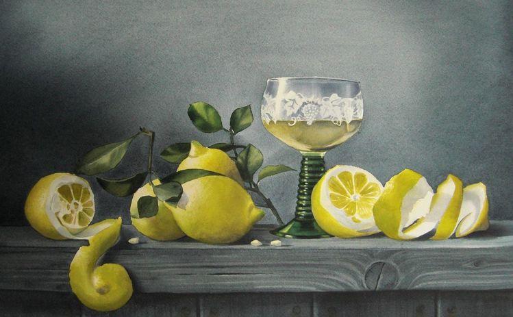Weißwein, Zitrone, Stillleben, Aquarell