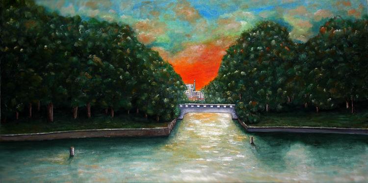 Sonne, Am kanal, See, Landschaft, Malerei, Kanal