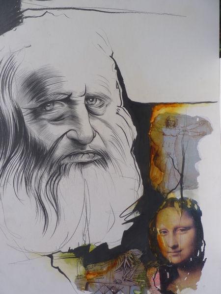 Zeichnung, Zeichenkarton, Gesicht, Collage, Leonardo da vinci, Portrait