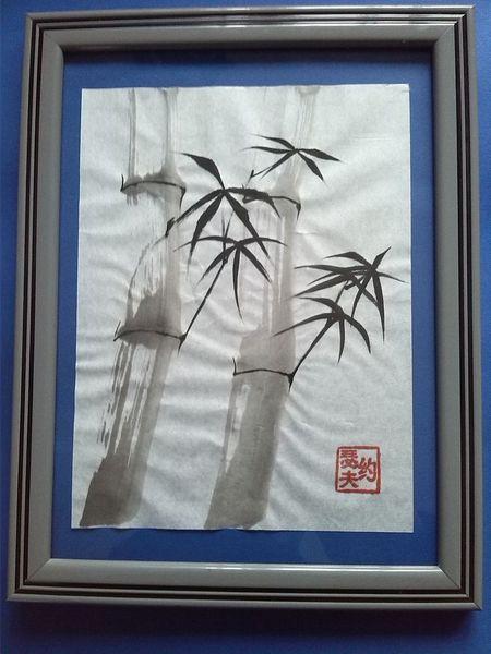 Siegel, Blatt metall, Bambus, Gold, Malerei