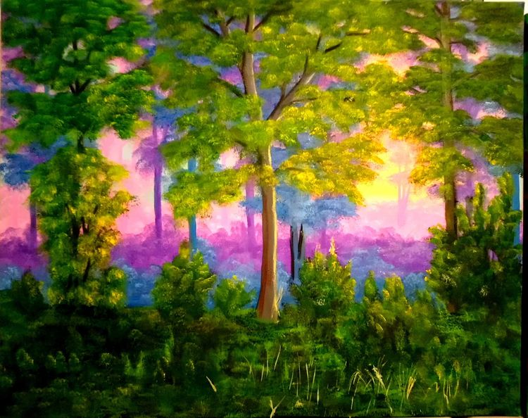 Landschaft, Sonnenaufgang, Wald, Ölmalerei, Baum, Stimmung