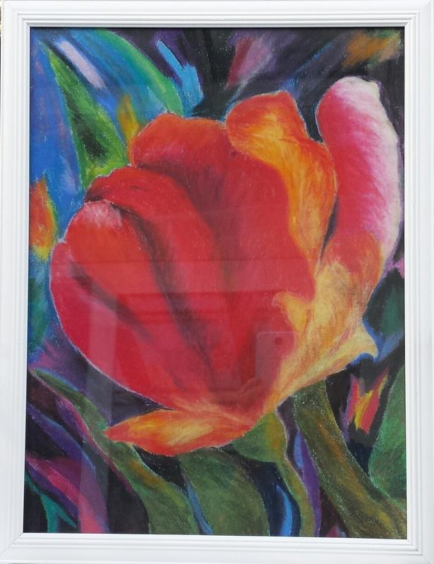 Bild: Pastellmalerei, Rahmen, Malerei, Mohnblüte von lieselk bei ...
