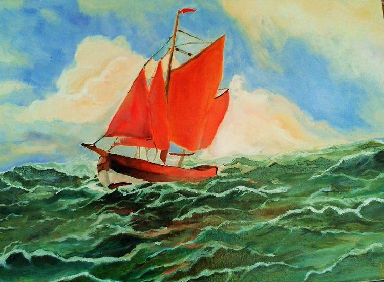 Welle, Meer, Sturm, Schiff, Wolken, See