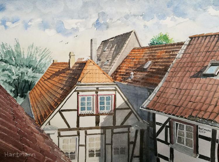 Altstadt, Aquarellmalerei, Fachwerk, Hattingen, Aquarell, Fenster