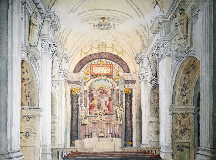 Kirche, Südtirol, Kloster, Marienberg, Aquarell