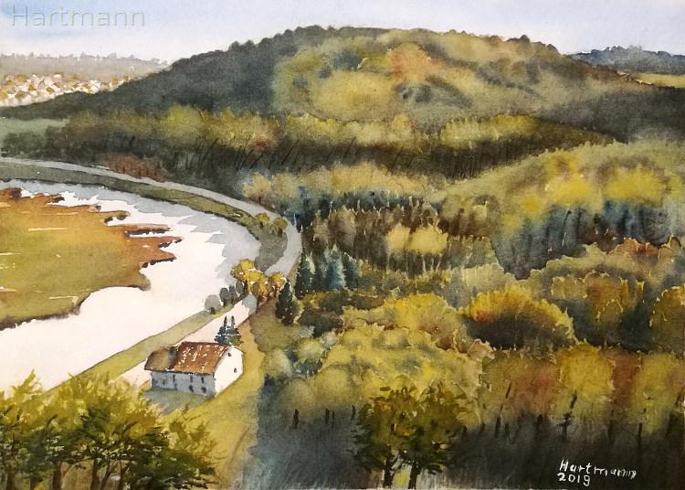 Wald, Hattingen, Grün, Ruhr, Isenburg, Aquarell