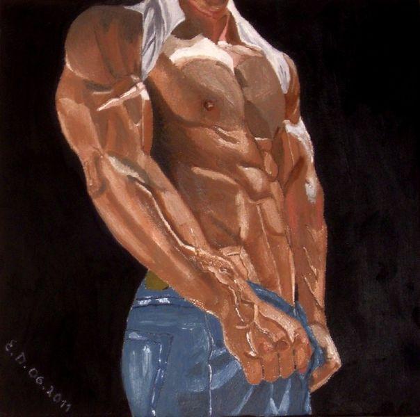 Blau, Gemälde, Braun, Mann, Körper, Muskulatur