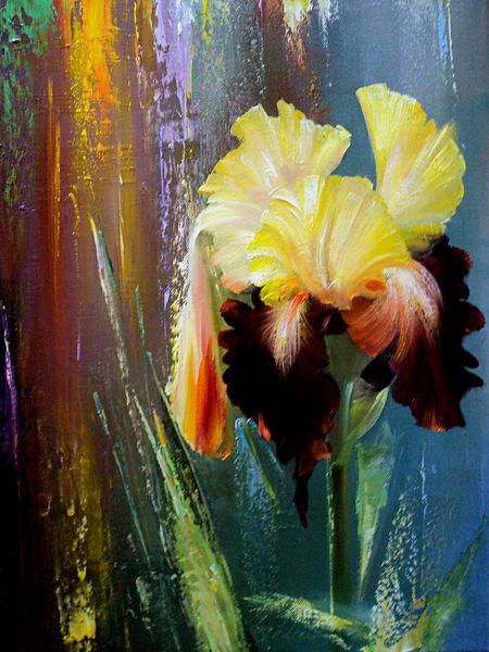 Landschaft, Herbst, Grün, Abstrakte landschaft, Iris, Blumen
