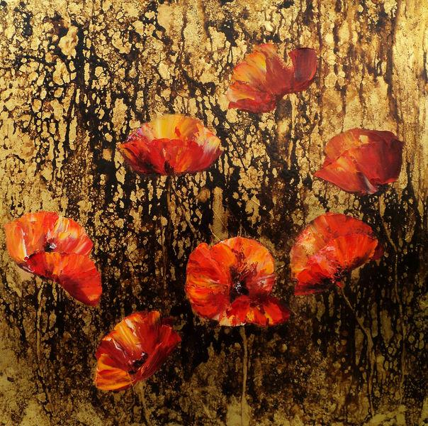 Malerei, Gold, Ölmalerei, Rose, Rot, Abstrakte landschaft