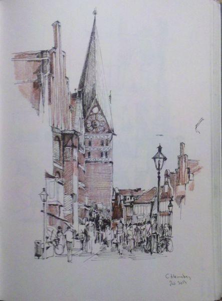 Innenstadt, Reise, Tuschestift, Urban sketch, Zeichnungen
