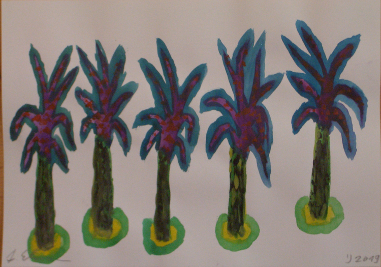 Pflanzen, Baum, Landschaft, Palmen, Malerei