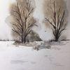 Schnee, Baum, Glückwunschkarte, Winter