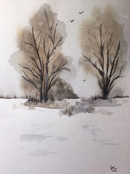 Baum, Winter, Schnee, Glückwunschkarte, Aquarell