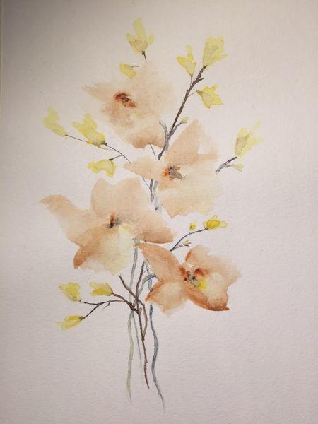 Zweig, Blüte, Frühling, Aquarell