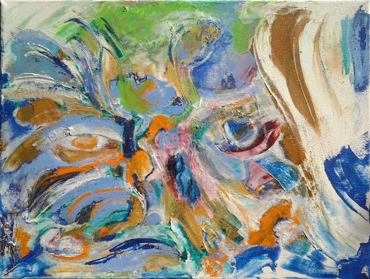 Blau, Bunt, Mohn, Malerei