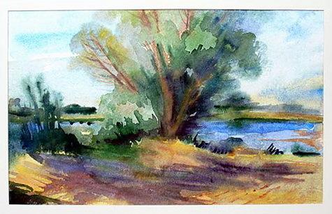 Elbe, Natur, Fluss, Wasser, Aquarellmalerei, Baum