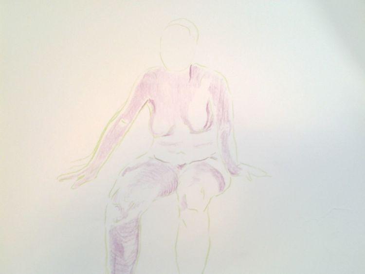 Akt, 2009, Lila, Frau, Zeichnungen