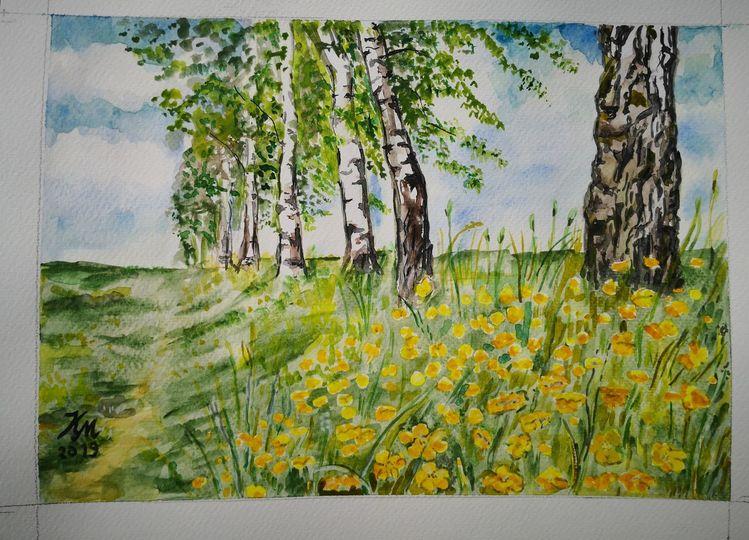 Frühling, Birkenweg, Butterblumen, Aquarell