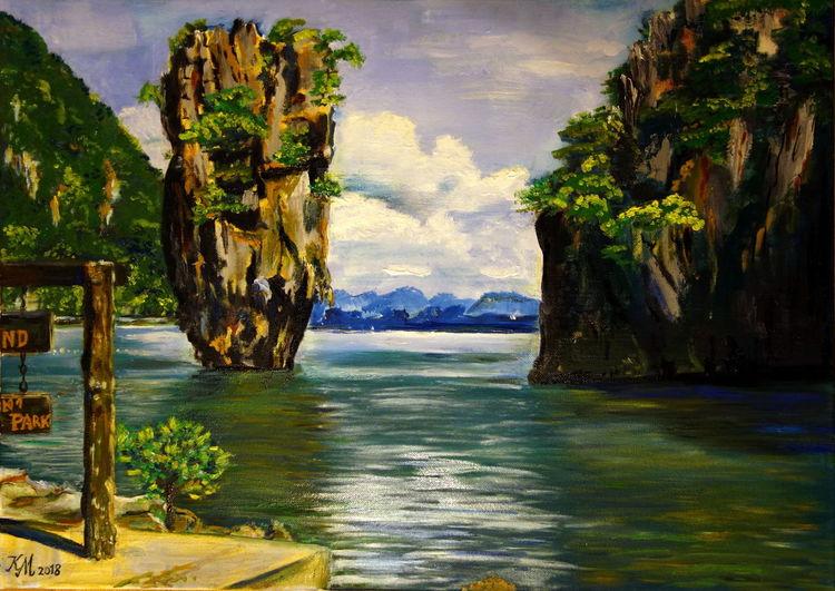 Andamanense, Felsen, James bond, Insel, Malerei