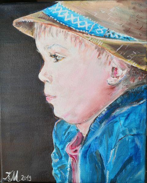 Hut, Kleiner junge, Konzentrieren, Malerei, Beobachter