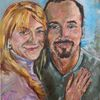 Jung, Paar, Glücklich, Malerei