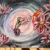 Kolibri, Blumen, Bunt, Aquarell