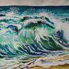 Welle, Türkis, Blau, Aquarell