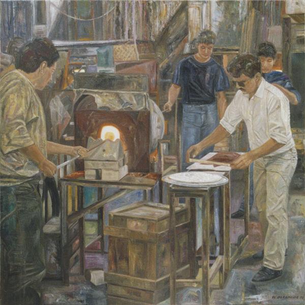 Malerei, Glasbläser, Werkstatt