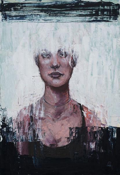 Schwarz weiß, Portrait, Frau, Spachteltechnik, Ölmalerei, Kontrast