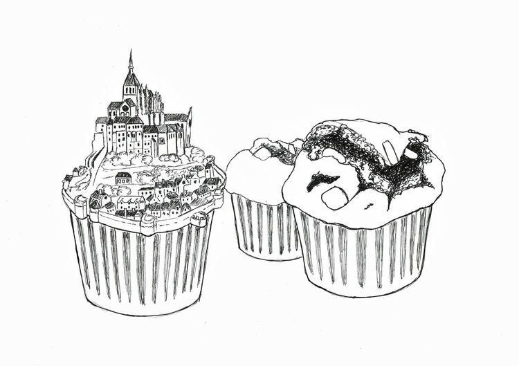 Insel, Mont, Muffin, Saint, Zeichnungen,