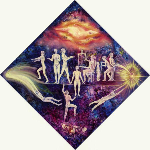 Lilla, Surreal, Mystik, Blau, Figural, Malerei