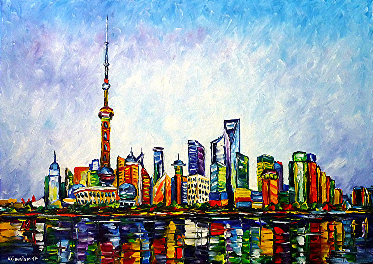 bild shanghai skyline hafen china von mirek kuzniar bei kunstnet. Black Bedroom Furniture Sets. Home Design Ideas