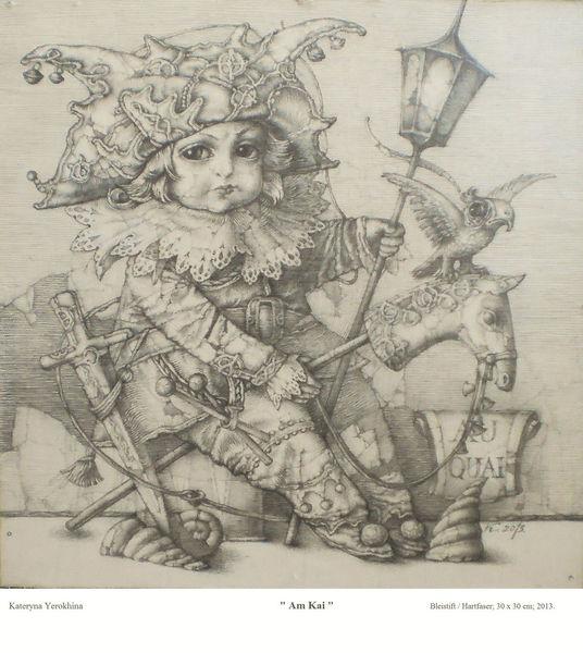 Bleistiftzeichnung, Zeichnung, Laterne, Grundiertem, Junge, Hartfaser