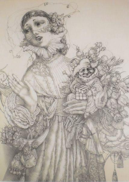Sängerin, Narr, Blumenstrauß, Frau, Retro, Zeichnungen
