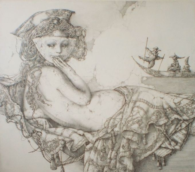Frauenbildnis, Venedig, Maske, Zeichnung, Gondel, Geschichte